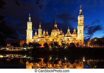 Basilica of Our Lady of the Pillar in evening. Zaragoza