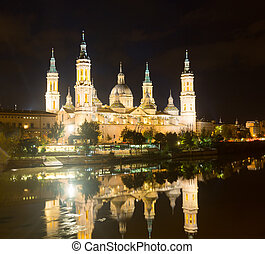 Basilica of Our Lady of the Pillar in  night