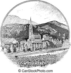 Basilica of our Lady of the Rosary in Lourdes, France, vintage engraving