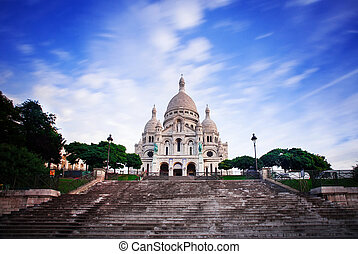 Basilica of Sacre Coeur, Paris - Notre Dame de Paris at...