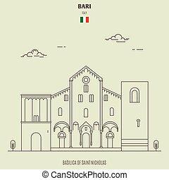 Basilica of Saint Micholas in Bari, Italy. Landmark icon in linear style