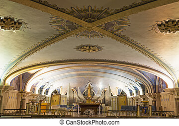 Basilica of Sainte-Anne-de-Beaupre - chapel in the crypt. Quebec, Canada.