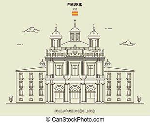 Basilica of San Francisco el Grande in Madrid, Spain. Landmark icon
