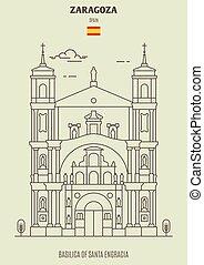 Basilica of Santa Engracia in Zaragoza, Spain. Landmark icon in linear style