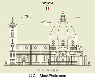 Basilica of Santa Maria del Fiore in Florence, Italy. Landmark icon in linear style