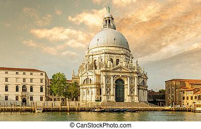 Basilica of Santa Maria della Salute in Venice, Italy - ...