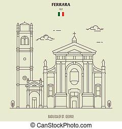 Basilica of St. George in Ferrara, Italy. Landmark icon in linear style