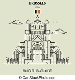 Basilica of the Sacred Heart in Brussels, Belgium. Landmark icon