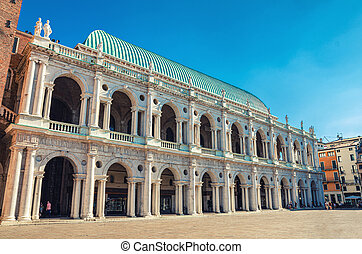 Basilica Palladiana renaissance building with balconies and columns in Piazza dei Signori square in old historical city centre of Vicenza