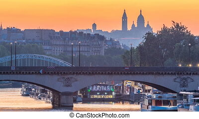 Basilica Sacre Coeur and the Seine river night to day...
