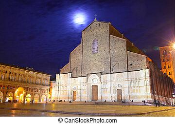 Basilica San Petronio in Bologna at night, Italy