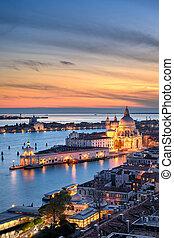 Basilica Santa Maria della Salute, Venice - Aerial sunset ...