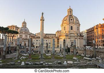 Basilica Ulpia and Trajan Column at dawn
