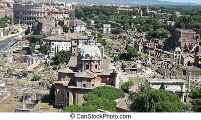 Basilica Ulpia Roma - close up aerial view The Basilica...