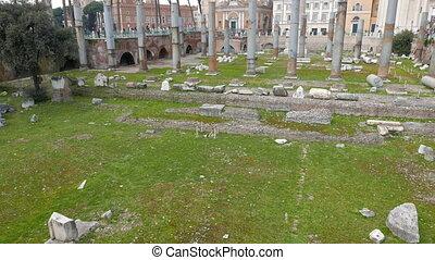Basilica Ulpia, Trajan Forum, Roma, Italy. UltraHD (4K)
