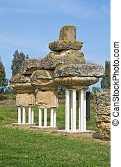 basilicata., 考古学的, italy., park., metaponto.