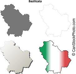 Basilicata blank detailed outline map set