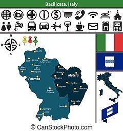 Basilicata with regions, Italy - Vector map of Basilicata...
