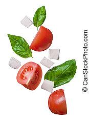 basilico, Cadere,  mozzarella, rosso, pomodori