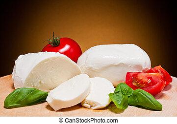 basilico,  mozzarella, pomodori