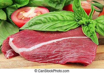 basilieken, fris, tomaat, stuk, vlees