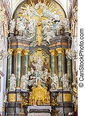 basilika, jasna, altare, -, poland., gora, czestochowa, asyl