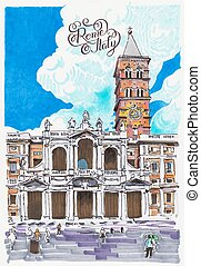 basilika, maggiore, jultomten maria, teckning, papale