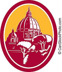 basilika, peters, kupol, st, retro, vatikanen