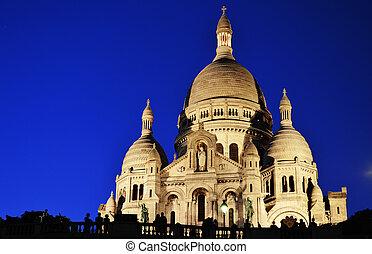 basilika, sacrecoeur, (sacred, heart), montmartre, in, paris