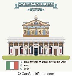 basilika, st, påvligt, utanför, rom, paul, väggar