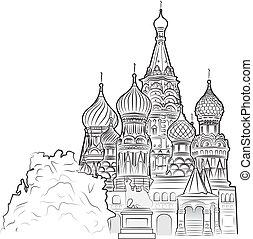 basilika, vektor, illustration, st