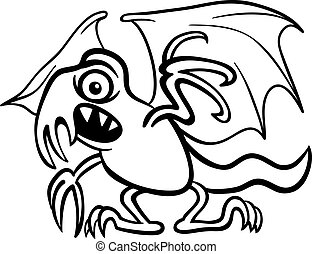 basilisk monster cartoon for coloring book - Black and White...
