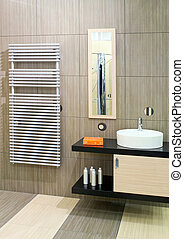 Basin and heater - Bathroom with round basin and towels ...