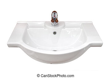 Basin - Bathroom basin isolated, with outline path