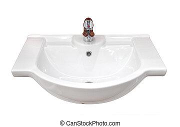 Bathroom basin isolated, with outline path