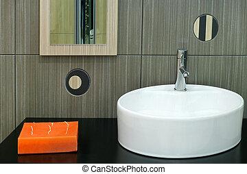 Basin design - Round white basin over interesting brown ...