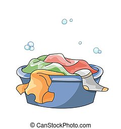Dirty clothes soak in tub with detergent before washing