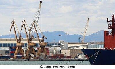Basin of harbor transport crane