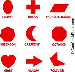 basis, geometrische vormen, met, captions