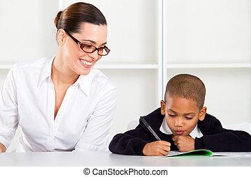 basisschool, leraar, en, pupil