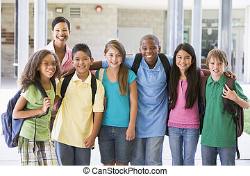 basisschool, stand, met, leraar