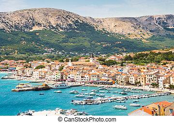 Baska, Krk, Croatia, Europe. - Panoramic view of Baska town...