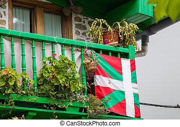 baske, euskadi, balkon, land, haus, spanien kennzeichen