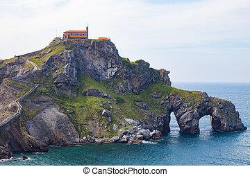 baske, land, landschaftsbild, gaztelugatxe, spanien