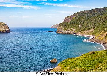 baske, land, landschaftsbild, küsten, gaztelugatxe, spanien
