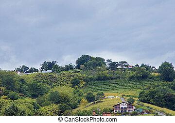 baske, weiler, land, landschaftsbild, berg