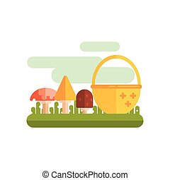 Basket And Three Mushrooms