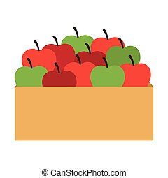 basket apples fruit isolated
