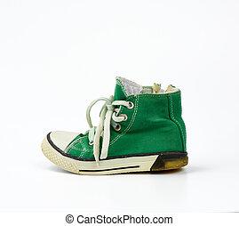basket, attaché, blanc, vert, textile, lacets, fond