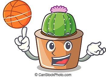 basket-ball, étoile, caractère, fleur, cactus, dessin animé